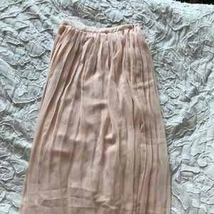 Blush pleated chiffon skirt